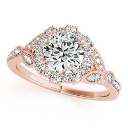 1 CTW Certified VS/SI Diamond Solitaire Halo Ring 18K Rose Gold - REF-159A3X - 26531