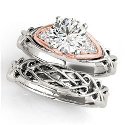 0.85 CTW Certified VS/SI Diamond Solitaire 2Pc Set 14K White & Rose Gold - REF-208H2A - 31877