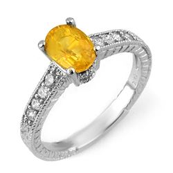 2.0 CTW Yellow Sapphire & Diamond Ring 14K White Gold - REF-40H4A - 10823
