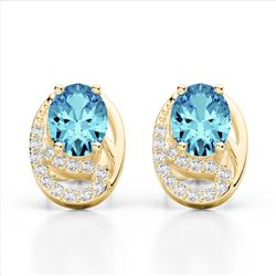 2.50 Sky Blue Topaz & Micro Pave VS/SI Diamond Stud Earrings 10K Yellow Gold - REF-25F6N - 22327