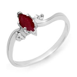 0.42 CTW Ruby & Diamond Ring 18K White Gold - REF-22H9A - 12910