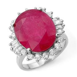 13.12 CTW Ruby & Diamond Ring 18K White Gold - REF-146K2W - 12944