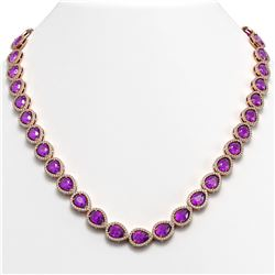 35.13 CTW Amethyst & Diamond Halo Necklace 10K Rose Gold - REF-586T9M - 41082