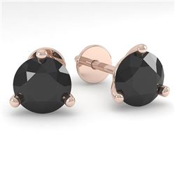 1.0 CTW Black Certified Diamond Stud Earrings Martini 14K Rose Gold - REF-25K8W - 38310