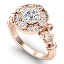 1.12 CTW VS/SI Diamond Solitaire Art Deco Ring 18K Rose Gold - REF-250H2A - 36978