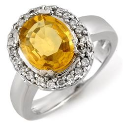 3.40 CTW Yellow Sapphire & Diamond Ring 10K White Gold - REF-61N3Y - 10974