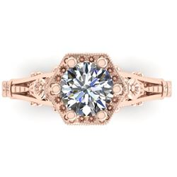 1 CTW Solitaire Certified VS/SI Diamond Ring 14K Rose Gold - REF-287W3F - 38530