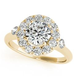 1 CTW Certified VS/SI Diamond Solitaire Halo Ring 18K Yellow Gold - REF-137K3W - 26307