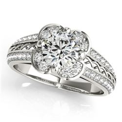 0.85 CTW Certified VS/SI Diamond Solitaire Halo Ring 18K White Gold - REF-140F2N - 26907
