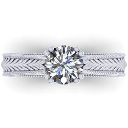 1.06 CTW Solitaire Certified VS/SI Diamond Ring 14K White Gold - REF-286M6H - 38535