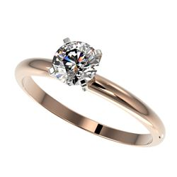 0.76 CTW Certified H-SI/I Quality Diamond Solitaire Engagement Ring 10K Rose Gold - REF-118F2N - 363