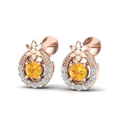 0.40 CTW Citrine & Micro Pave VS/SI Diamond Halo Solitaire Earrings 14K Rose Gold - REF-20K5W - 2004