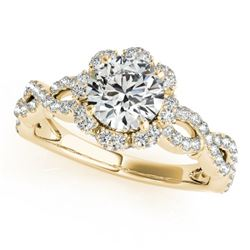 1.69 CTW Certified VS/SI Diamond Solitaire Halo Ring 18K Yellow Gold - REF-411K3W - 26822