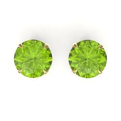 4 CTW Peridot Designer Inspired Solitaire Stud Earrings 18K Yellow Gold - REF-32X2T - 21834