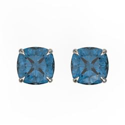 3 CTW Cushion Cut London Blue Topaz Designer Stud Earrings 18K White Gold - REF-23X5T - 21749