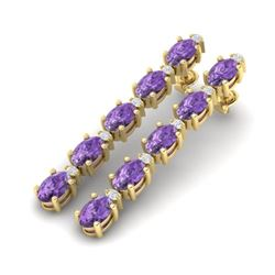 15.47 CTW Amethyst & VS/SI Certified Diamond Tennis Earrings 10K Yellow Gold - REF-75N6Y - 29471