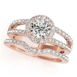 1.51 CTW Certified VS/SI Diamond 2Pc Wedding Set Solitaire Halo 14K Rose Gold - REF-228X9T - 30880