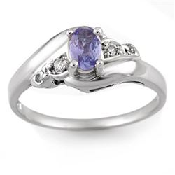 0.42 CTW Tanzanite & Diamond Ring 18K White Gold - REF-30M9H - 10441