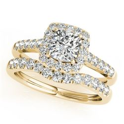 1.45 CTW Certified VS/SI Cushion Diamond 2Pc Set Solitaire Halo 14K Yellow Gold - REF-250F2N - 31336