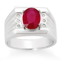 3.06 CTW Ruby & Diamond Men's Ring 10K White Gold - REF-73Y8K - 14470