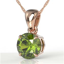 2 CTW Green Tourmaline Designer Solitaire Necklace 14K Rose Gold - REF-31X8T - 22025