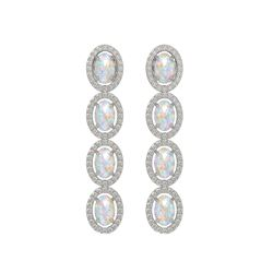 4.05 CTW Opal & Diamond Halo Earrings 10K White Gold - REF-112T8M - 40517