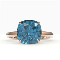 6 CTW London Blue Topaz Designer Inspired Solitaire Engagement Ring 14K Rose Gold - REF-31N6Y - 2218