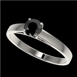 0.50 CTW Fancy Black VS Diamond Solitaire Engagement Ring 10K White Gold - REF-19Y3K - 32955