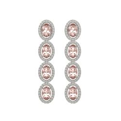 6.09 CTW Morganite & Diamond Halo Earrings 10K White Gold - REF-130H8A - 40514