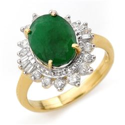 4.85 CTW Emerald & Diamond Ring 14K Yellow Gold - REF-100M2H - 13174