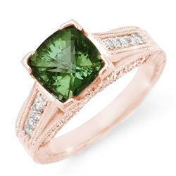 3.0 CTW Green Tourmaline & Diamond Ring 14K Rose Gold - REF-87H6A - 11770