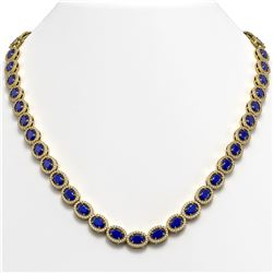 34.11 CTW Sapphire & Diamond Halo Necklace 10K Yellow Gold - REF-537K5W - 40408