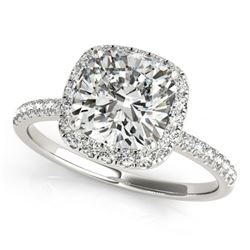 0.75 CTW Certified VS/SI Cushion Diamond Solitaire Halo Ring 18K White Gold - REF-136W4F - 27204