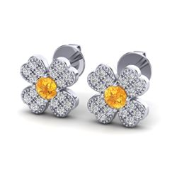 0.54 CTW Citrine & Micro Pave VS/SI Diamond Earrings 18K White Gold - REF-29M6H - 20042