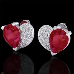 2.50 CTW Ruby & Micro Pave VS/SI Diamond Earrings 10K White Gold - REF-33M8H - 20077