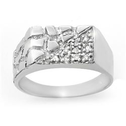 0.15 CTW Certified VS/SI Diamond Men's Ring 18K White Gold - REF-53F5N - 13247