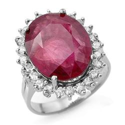 12.0 CTW Ruby & Diamond Ring 18K White Gold - REF-160Y2K - 13154