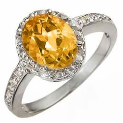 2.10 CTW Citrine & Diamond Ring 14K White Gold - REF-27W6F - 10070