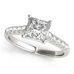 0.85 CTW Certified VS/SI Princess Diamond Ring 18K White Gold - REF-132T8M - 28113