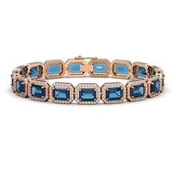 25.36 CTW London Topaz & Diamond Halo Bracelet 10K Rose Gold - REF-313A3X - 41415