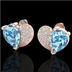 2.50 CTW Sky Blue Topaz & Micro Pave VS/SI Diamond Earrings 10K Rose Gold - REF-30T2M - 20066