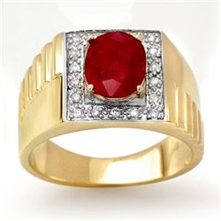 2.25 CTW Ruby & Diamond Men's Ring 10K Yellow Gold - REF-48A9X - 13484