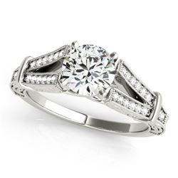 0.75 CTW Certified VS/SI Diamond Solitaire Antique Ring 18K White Gold - REF-137W3F - 27288