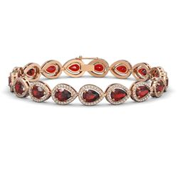 17.44 CTW Garnet & Diamond Halo Bracelet 10K Rose Gold - REF-272A2X - 41136