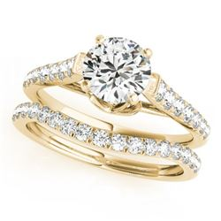 1.33 CTW Certified VS/SI Diamond Solitaire 2Pc Wedding Set 14K Yellow Gold - REF-150N9Y - 31681