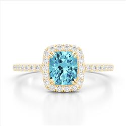 1.25 CTW Sky Blue Topaz & Micro Pave VS/SI Diamond Halo Ring 10K Yellow Gold - REF-34M5H - 22914