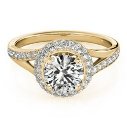 1.6 CTW Certified VS/SI Diamond Solitaire Halo Ring 18K Yellow Gold - REF-390H9A - 26828