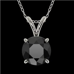 1 CTW Fancy Black VS Diamond Solitaire Necklace 10K White Gold - REF-26M3H - 33185