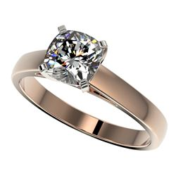 1.25 CTW Certified VS/SI Quality Cushion Cut Diamond Solitaire Ring 10K Rose Gold - REF-372F3N - 330