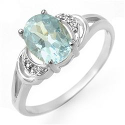 1.06 CTW Blue Topaz & Diamond Ring 10K White Gold - REF-13N5Y - 12544